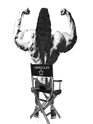 A cartoon of a muscle-bound actor sitting in a director's chair.