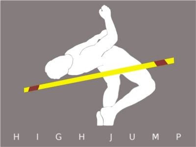 Male figure do high jump over pole.