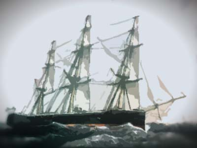 Artwork of a sailing ship in full sail on a stormy sea.