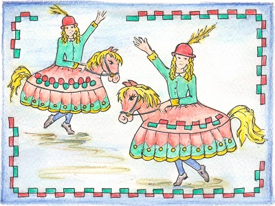 A cartoon of two hobbyhorses.
