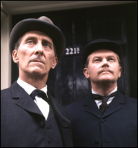 Peter Cushing, star of the BBC's 1968 series of Sherlock Holmes, with Nigel Bruce as Dr Watson.