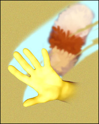A rubber-gloved hand wipes grime from the screen. A feather duster is popping up in the background.