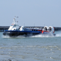 A hovercraft and Ryde Pier.