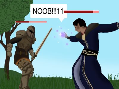 Computer image of role-playing game.