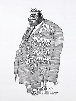 A caricature of Idi Amin by Edmund Valtman.