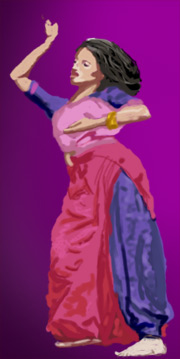 A woman dancing to bhangra music.