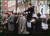 Dramatic reenactment of events of 1918, when Eamon De Valera and Michael Collins campaigned for Sinn Fein in the general election.