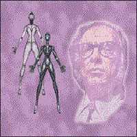 Author Isaac Asimov and a couple of androids