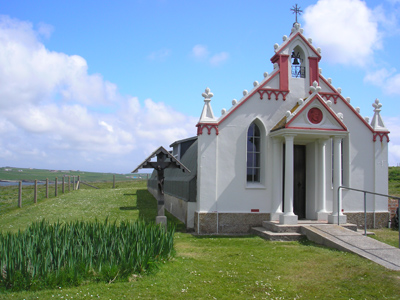 A photo of the Italian Chapel, in Orkney.