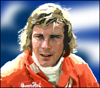 Racing legend James Hunt - graphic by Community Artist Jimster.