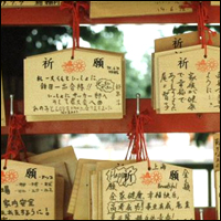 Fortune Tablets outside a temple, Tokyo, Japan. Visitors buy a wooden tablet on which they can write their wish.