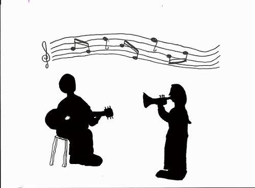 Jazz musicians in silhouette.