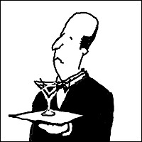 A caricature of a snooty English butler.