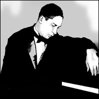 'Jelly Roll' Morton sits by a piano.