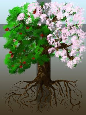 An image of an apple tree showing blossom, fruit and roots, against a background of a cross.