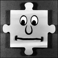 Jigg, an animated jigsaw piece who co-presents the childrens programme 'Jigsaw'.