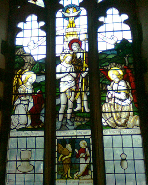 Stained glass window in Grimsby Minster depicting the baptism of Jesus by John the Baptist
