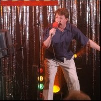 David Mitchell throws his heart into karaoke.