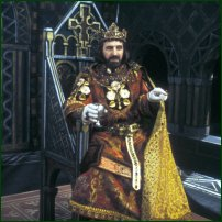 Leonard Rossiter as King John in a 1984 BBC production of The Life and Death of King John.