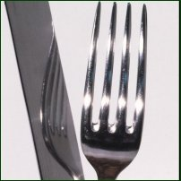 A fork reflected in a cutlery knife blade.