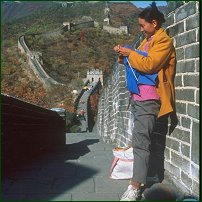 Knitting at the Great Wall of China.