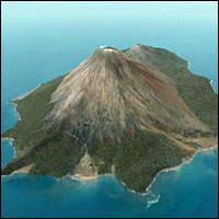 A computer-generated image of Krakatoa before the eruption, taken from the 2005 BBC documentary Krakatoa Revealed.