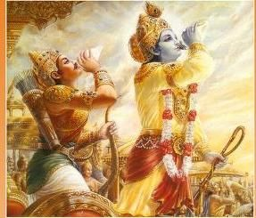 Krishna and Arjjuna blowing the conch.
