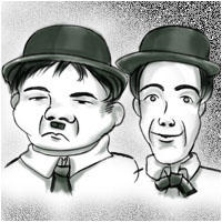 Legendary comedians Oliver Hardy and Stan Laurel