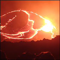 A picture of lava erupting from a volcano, taken from the BBC documentary 'Earth: The Power of the Planet'.
