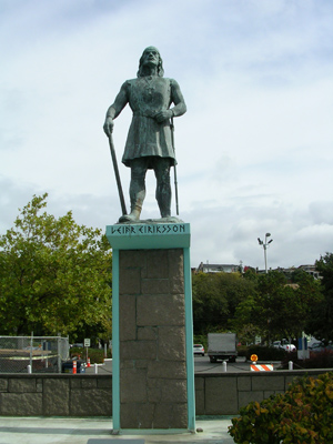 Statue of Leifr Eiriksson, discoverer of America, at Poulsbo, Washington.