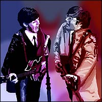 Paul McCartney (with a leather suit on his right side and dark suit on the left) and John Lennon (wearing a creme suit on his right side and half a Sergeant Pepper costume on the left).