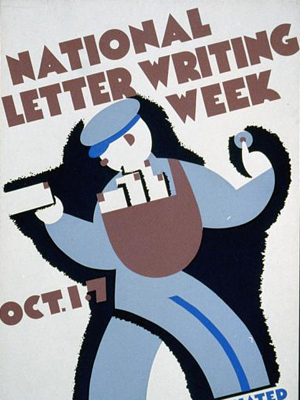 Mail carrier, WPA poster for National Letter Writing Week.