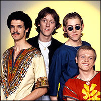 The four original members of classic 80s band Level 42. I wonder where they got their name..?