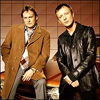 Actors Philip Glenister and John Simm, stars of the TV series Life on Mars.