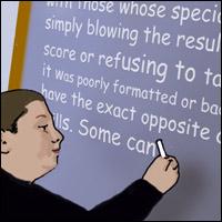 A boy writes an insightful essay on a blackboard.