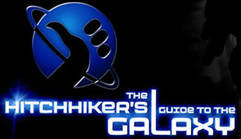 The logo for the Hitchhiker's Guide to the galaxy movie.