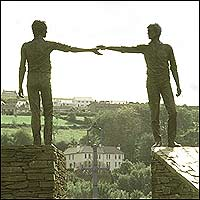 The statue of the 'Hand of Friendship' between two communities - found in County Londonderry, Northern Ireland.