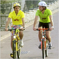 Two cyclists.