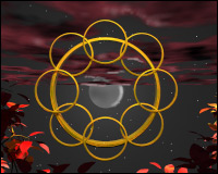 A circle of gold rings, dominated by a greater ring, with fiery volcanic eruptions in the background.