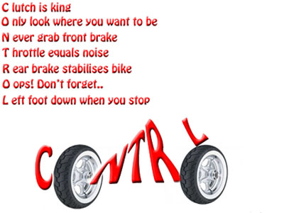 Graphic artwork - How to Control a Motorbike at Low Speed.