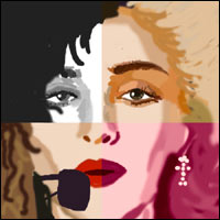Madonna's face, split into four corners, each one reflecting a different image adopted by her during her long career.