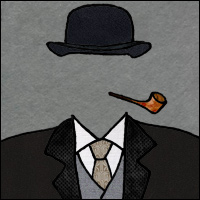 A bowler hat, pipe and suit.