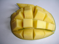 The inside of a mango