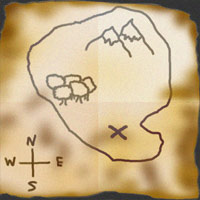 An old map depicting an island and a large X marking a spot.