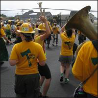 The Humboldt State University Marching Lumberjacks.