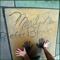 Marilyn Monroe's handprints outside the Chinese Theatre in Los Angeles.