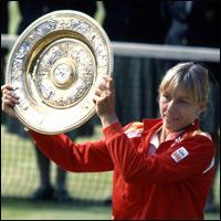 Martina Navratilova holding the Wimbledon Trophy after defeating Chris Evert in the women's final of the Wimbledon Lawn Tennis Championships 1982.