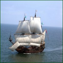 A reconstruction of the Mary Rose, the most well-known of Henry VIII's great navy ships.