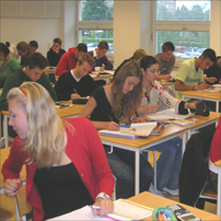 Students having a maths lesson at Borgarskola secondary school in Malmo, Sweden.