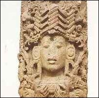 A carved Mayan image.